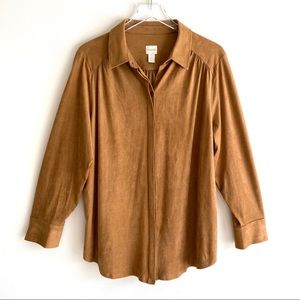 CHICO's Faux Suede Camel Brown Button Blouse Top